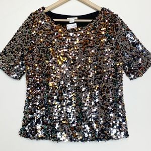 H&M Gold & Silver Sequined Holiday Blouse